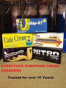 144 Whip Cream Chargers Nitrous Oxide N2O Whipped Over