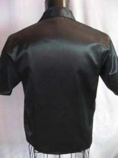 NEW Retro Pinup POKER Black 2Tone Panel Hipster Gambler Bowling Shirt