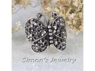 Vtg Style Butterfly Ring w BLACK Crystal JV068 SIZE