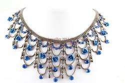 Blue Austrian Rhinestone Crystal Fancy Rose Necklace Earrings Set