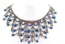 Blue Austrian Rhinestone Crystal Fancy Rose Necklace Earrings Set