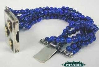 Designer 14K Gold Yellow & Silver Lapis Lazuli Bracelet