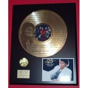 Michael Jackson Thriller 24kt LP Gold Record LTD Edition