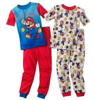 Super Mario Pajamas pjs Shirt Pants Size 6 8 10 12