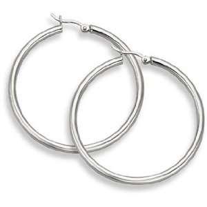 14K White Gold Hoop Earrings   1 9/16 diameter (3mm