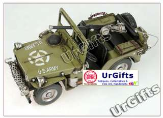 Made Metal Art Bar Decor 116 Car Model WWII Willys Jeep 1940
