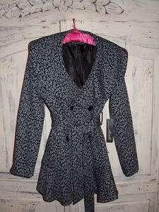 NEW Womens WILLI SMITH BLACK & GRAY LEOPARD JACKET COAT PEPLUM Small