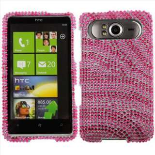 Pink Zebra Bling Case Cover T Mobile HTC HD7 Accessory