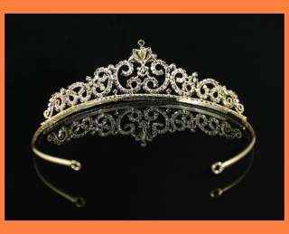 LUXURY CLEAR RHINESTONE TIARA CROWN BRIDAL PARTY WEDDING PROM H671G