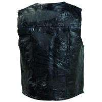 Navarre Mens Black Leather Motorcycle Vest S M L XL 2X 3X 4X 5X