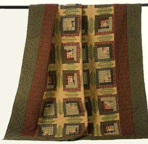 Country Tea Cabin Quilted Throw 8 Point Star Tea Stained Fabric Nice