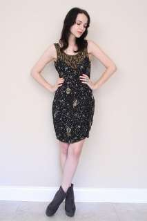 Vintage 80s Black GOLD Sequin Leaf BEADED Glam Trophy Mini Party Dress