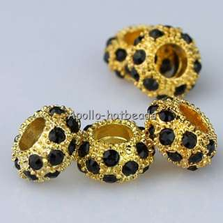 50X WHOLESALE LOTS BLACK CRYSTAL GOLDEN CHARM BEADS