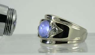ANTIQUE 2.92CT NATURAL BLUE STAR SAPPHIRE EURO DIAMOND 14K WG RING