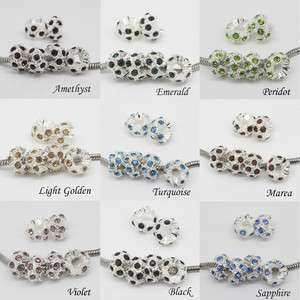 WHOLESALE CRYSTAL SILVER SPACER BIG HOLE CHARM EUROPEAN BEADS JEWELRY