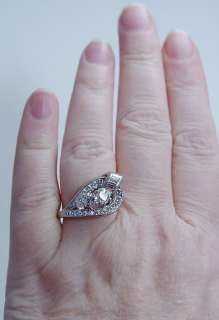 Retro Vintage Jewelry 18K White Gold Whitest Diamonds Ring