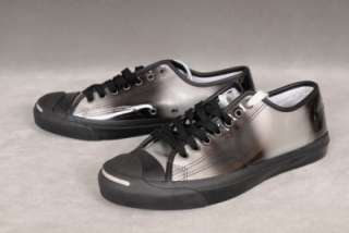 Converse Jack Purcell Silver & Black Leather Sneakers   Mens Size 8