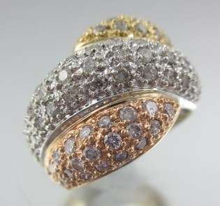 DESIGNER 18KT White Rose Gold Diamond Wave Ring
