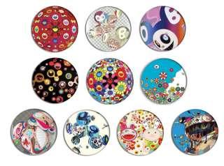 TAKASHI MURAKAMI pop art pin Button BADGE/ MAGNET SET