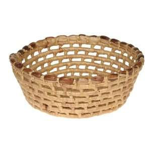 Water Hyacinth and Varnish Basket Round   Wide Weave Weed Wacker