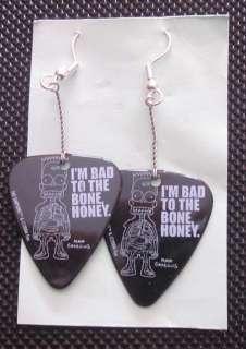 Pick earrings featuring Bart Simpson   Im Bad to the Bone Honey