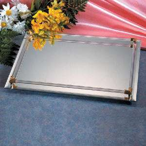 8X11 MIRROR VANITY/SERVER TRAY WITH GOLD PLATED ACCENTS