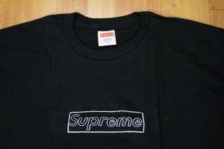 SUPREME BOX LOGO KAWS TEE SHIRT BLACK WHITE NEW SZ XL X Large