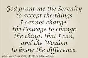 Primitive STENCIL Serenity Prayer God Grant Me Courage Change