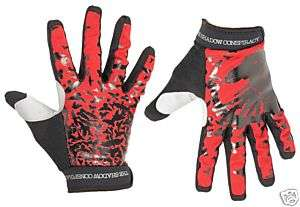 SHADOW CONSPIRACY CROW GLOVES SM BLACK RED BMX BIKE NEW