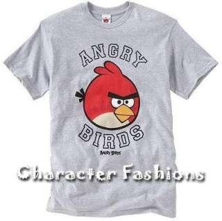 ANGRY BIRDS Short Sleeve Shirt Tee Mens S M L XL XXL Gray