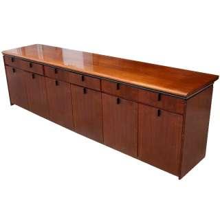 9ft Mid Century Modern Wood Credenza Cabinet