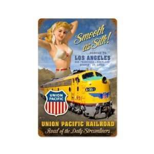 Union Pacific Railroad American Train Pinup Vintage Metal