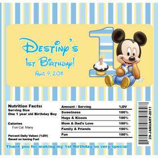 Set of 10 Baby Mickey Mouse Personalized Invitations