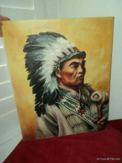 VINTAGE American Indian WARRIOR CHIEF Original Oil 1981