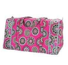 Nwt Vera Bradley Large Duffel travel gym bag cupcakes pink handbag