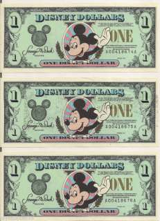 Consecutive 1995 Disney Dollars $1 Mickey A Series