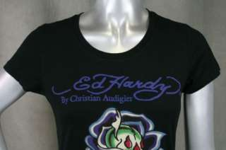 ED Hardy Womens T shirt Black Rose Of Death S M L SKULL