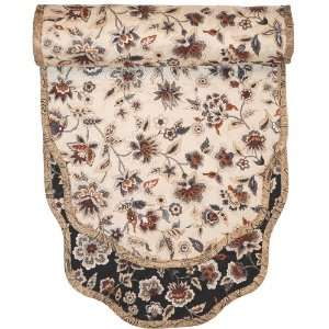 60 inch Black & Tan Floral Quilted Table Runner