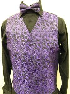 Mens Suit Tuxedo Dress Vest Necktie Bowtie Hanky Set Purple Paisley