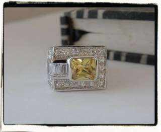 Deco Lk Canary Yellow Absolute Sterling Silver 925 Ring 5 NEW