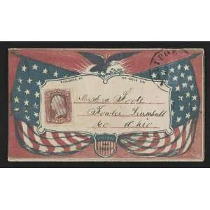 Civil War envelope,American flags,eagle,laurel branches,shield,Union