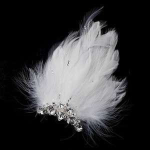 Silver Ivory Feather Fascinator Bridal Hair Clip