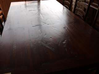 Rustic Acacia Dark Wood Large Drop Leaf Dining Table