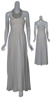 Angelic silk evening gown has mirrored rhinestones accenting the