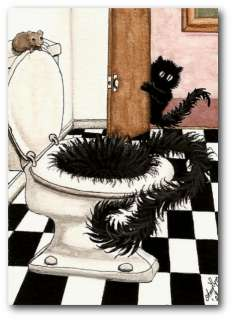 Peek&Boo Black Cats Potty Prank Swirly FuNHumor ArT   ACEO LE Print