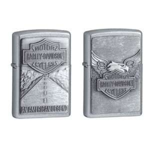 Zippo Lighter Set   Harley Davidson American Legend and Iron Eagle
