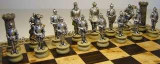 MEDIEVAL TIMES WARRIOR Chess Set W 16 BURLWOOD Board NEW