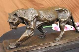 BRONZE SCULPTURE PANTHER CAT SAFARI STATUE COUGAR JAGUAR ANIMAL