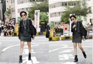 Black Japan style punk rock girls Leather Jacket
