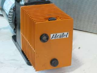 ALCATEL M2008A DUAL STAGE ROTARY VANE VACUUM PUMP, 1/2 HP